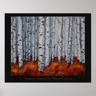 Álamos tembloses del otoño del artista fino Alison Póster