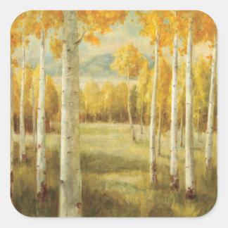 Álamos tembloses en otoño pegatina cuadrada