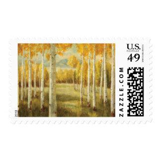 Álamos tembloses en otoño sello postal