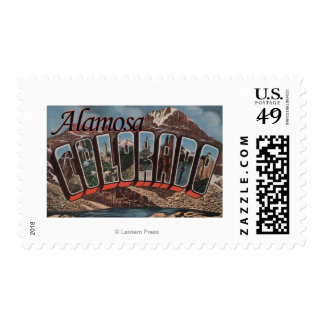 Alamosa, Colorado - Large Letter Scenes Stamp
