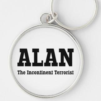 Alan - el terrorista incontinente llavero redondo plateado