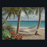 """Alan Giana &quot;Can You Imagine&quot; Poster<br><div class=""""desc"""">Your hammock between the palms is waiting for you in this painting by Alan Giana. &quot;Can You Imagine&quot; yourself in this inviting tropical setting?</div>"""