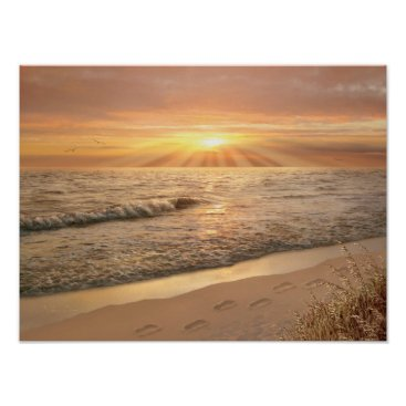 "Beach Themed Alan Giana ""Footprints in the Sand"" Poster"