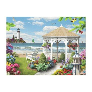 "Beach Themed Alan Giana ""Gazebo by the Sea"" Canvas Print"