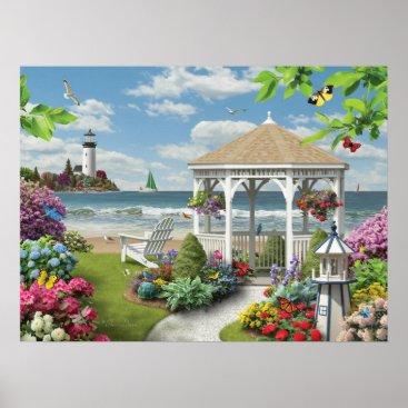 "Beach Themed Alan Giana ""Gazebo by the Sea"" Poster"