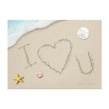 "Beach Themed Alan Giana ""I Love U"" Canvas Print"