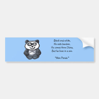Alan Panda, Black and white,He eats bamboo,He c... Car Bumper Sticker