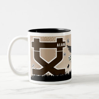 Alan , your name in Chinese words (on a mug) Two-Tone Coffee Mug