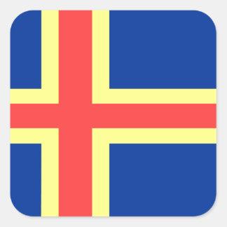Aland Island Flag Set Square Sticker