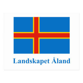 Aland Islands Flag with Name in Swedish Postcard