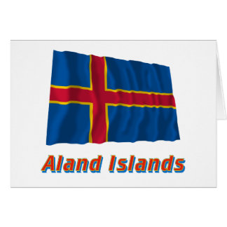 Aland Islands Waving Flag with Name Card