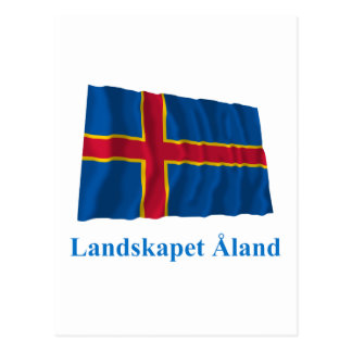 Aland Islands Waving Flag with Name in Swedish Postcard