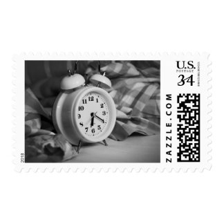 Alarm Clock Bed Time Morning Art Stamp