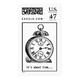 "Alarm Clock ""It's About Time"" Postage Stamp"