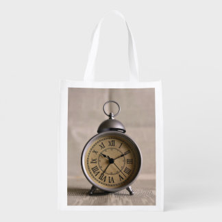 Alarm clock with roman numerals grocery bag