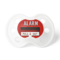 Alarm pull out pacifier in white
