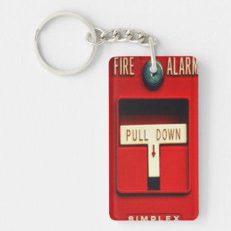 Alarma de incendio llavero rectangular acrílico a doble cara
