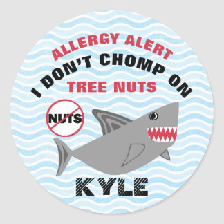 Alarma de la alergia del cacahuete de la nuez del pegatina redonda
