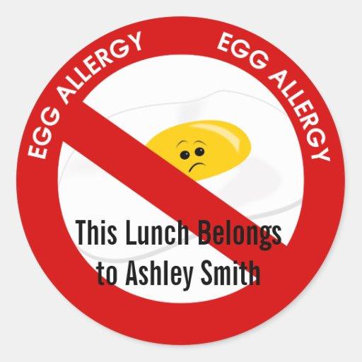 Alarma de la alergia del huevo pegatina redonda