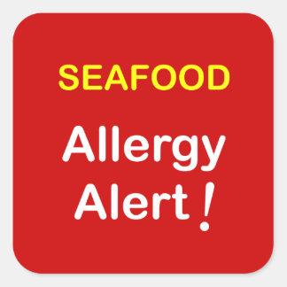 Alarma de la alergia - MARISCOS Calcomanías Cuadradass