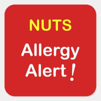 Alarma de la alergia - NUECES Calcomanías Cuadradass Personalizadas