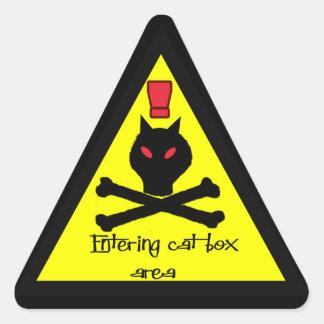 alarma de la caja de gato pegatina triangular