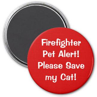 ¡Alarma del mascota del bombero! Imán Redondo 7 Cm