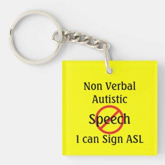 Alarma del médico para autístico no verbal llavero cuadrado acrílico a doble cara