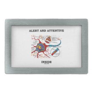 Alarma e interior atento (neurona/sinapsis) hebilla de cinturon rectangular
