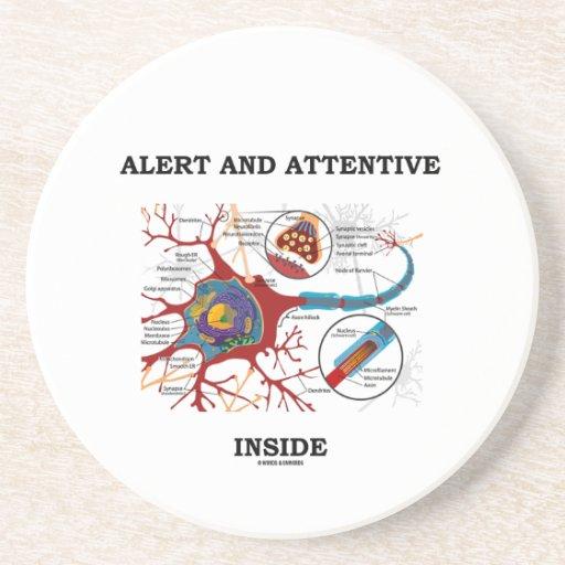 Alarma e interior atento (neurona/sinapsis) posavasos cerveza