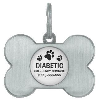 Alarma médica de la diabetes de tres impresiones d placa mascota