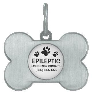 Alarma médica de la epilepsia de tres impresiones  placa mascota