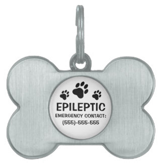 Alarma médica de la epilepsia de tres impresiones  placas de mascota