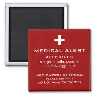 Alarma médica de las alergias imán cuadrado