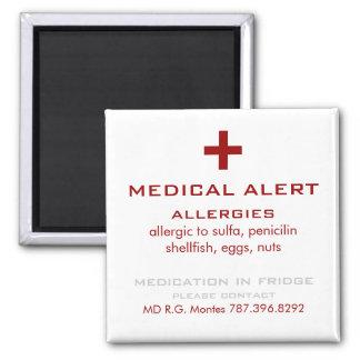 Alarma médica de las alergias rojas y blancas imán cuadrado