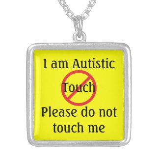 Alarma médica del autismo ningún tacto collar plateado