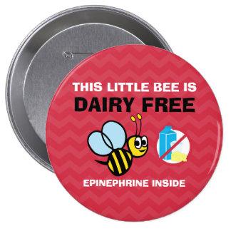 Alarma personalizada abeja libre de la alergia de pin redondo de 4 pulgadas