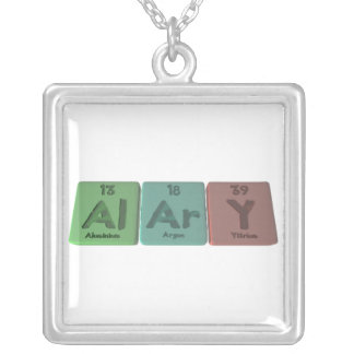 Alary-Al-Ar-Y-Aluminium-Argon-Yttrium Square Pendant Necklace