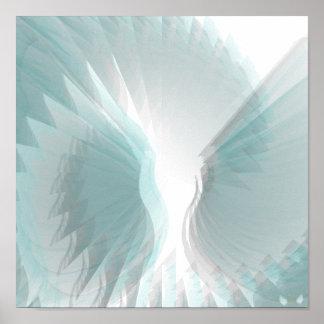 Alas angelicales que deslumbran el poster azul - p