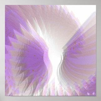 Alas angelicales que deslumbran el poster púrpura