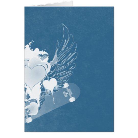 alas azules del corazón tarjeta de felicitación