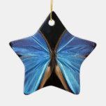 Alas azules iridiscentes de la mariposa ornamento para reyes magos