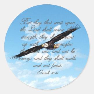 Alas como Eagles biblia del cristiano del 40 31 d Pegatina Redonda