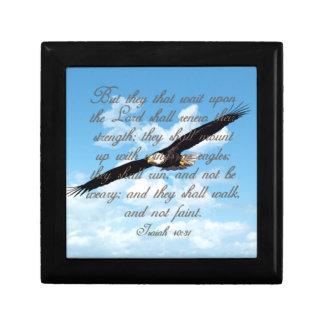 Alas como Eagles, biblia del cristiano del 40:31 Joyero Cuadrado Pequeño