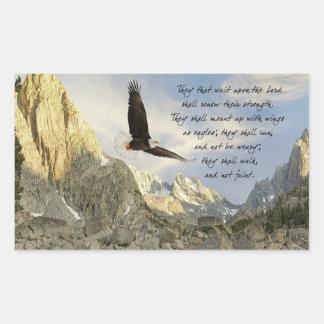 Alas como Eagles Isaías 4o: 31 Rectangular Pegatina