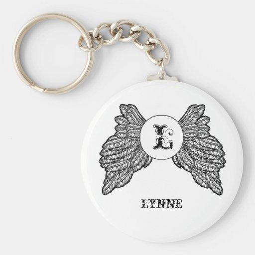 Alas cones monograma personalizadas del ángel llaveros personalizados