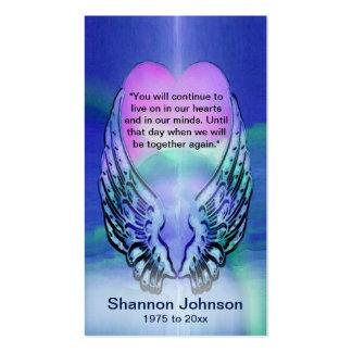 | alas conmemorativas del corazón y del ángel de tarjetas de visita