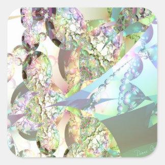 Alas de ángeles - Celestite y cristales Amethyst Pegatinas Cuadradases