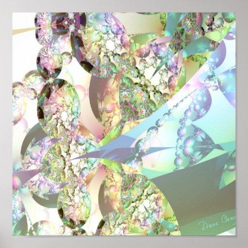 Alas de ángeles - Celestite y cristales Amethyst Póster