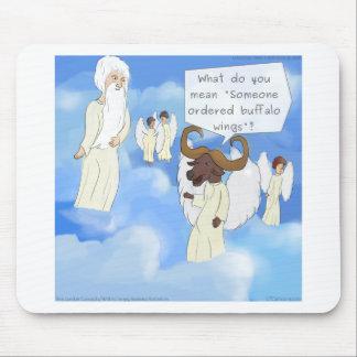Alas de búfalo divertidas en regalo del cielo tapete de ratones